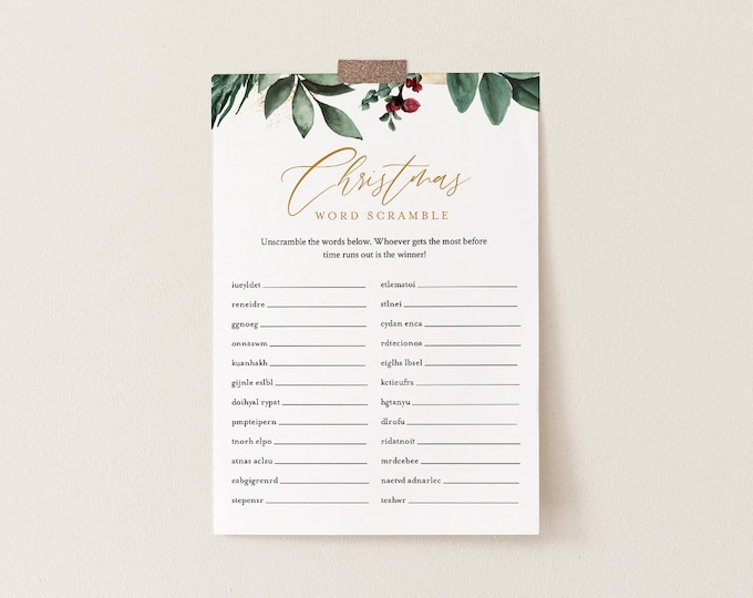 Christmas Word Scramble, Holiday Party Game Printable, Christmas Puzzle, Editable Template, Instant Download, Templett 5x7 #0018-112CG