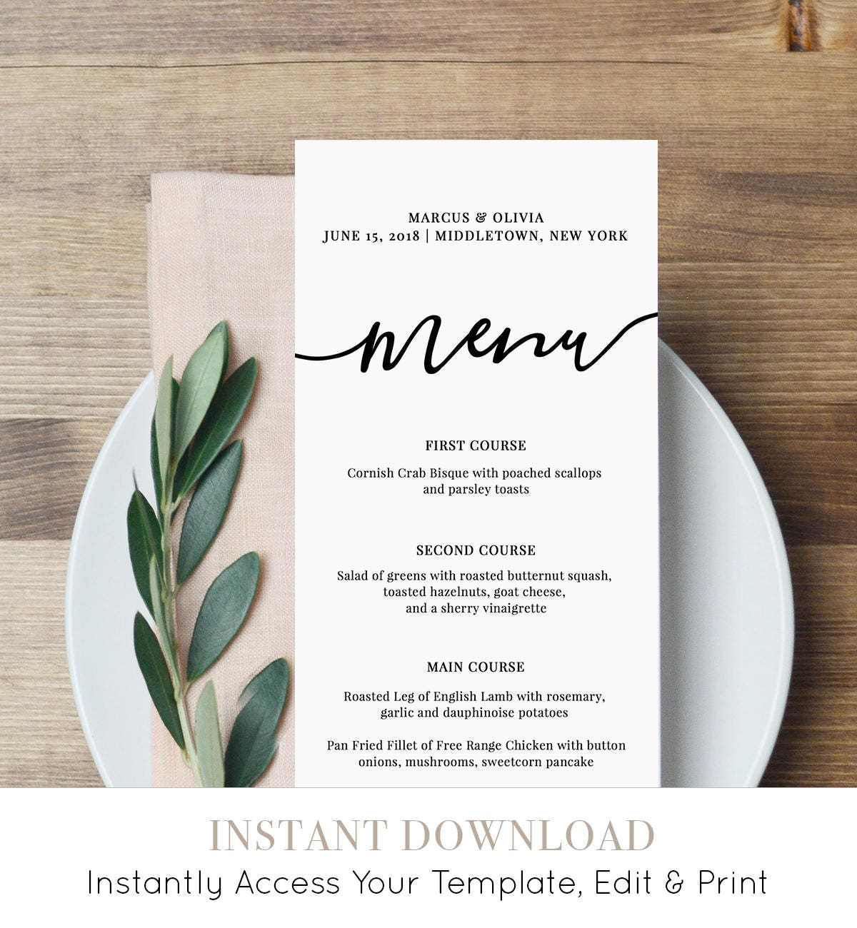menu card template printable wedding menu modern calligraphy