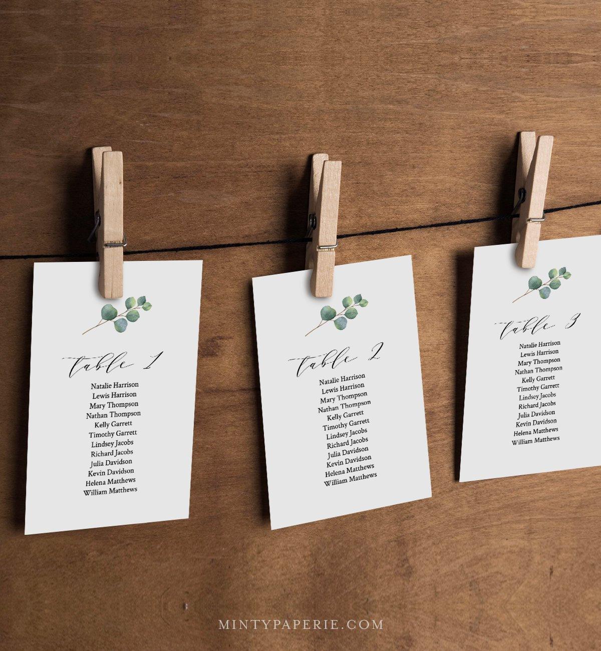 Eucalyptus Seating Chart Template, Greenery Wedding
