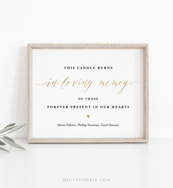 In Loving Memory Sign Template, Candle Burns, Wedding Sign, Remembrance Sign, 100% Editable, INSTANT DOWNLOAD, Templett, 5x7 & 8x10 #038-03S