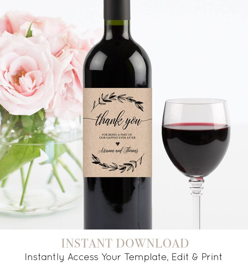 photograph regarding Printable Wine Bottle Label referred to as Wedding day Wine Bottle Label, Printable Wine Label Template, 100% Editable, Wine Wedding day Choose, Personalized Label, Quick Down load, Do it yourself #023-102WL
