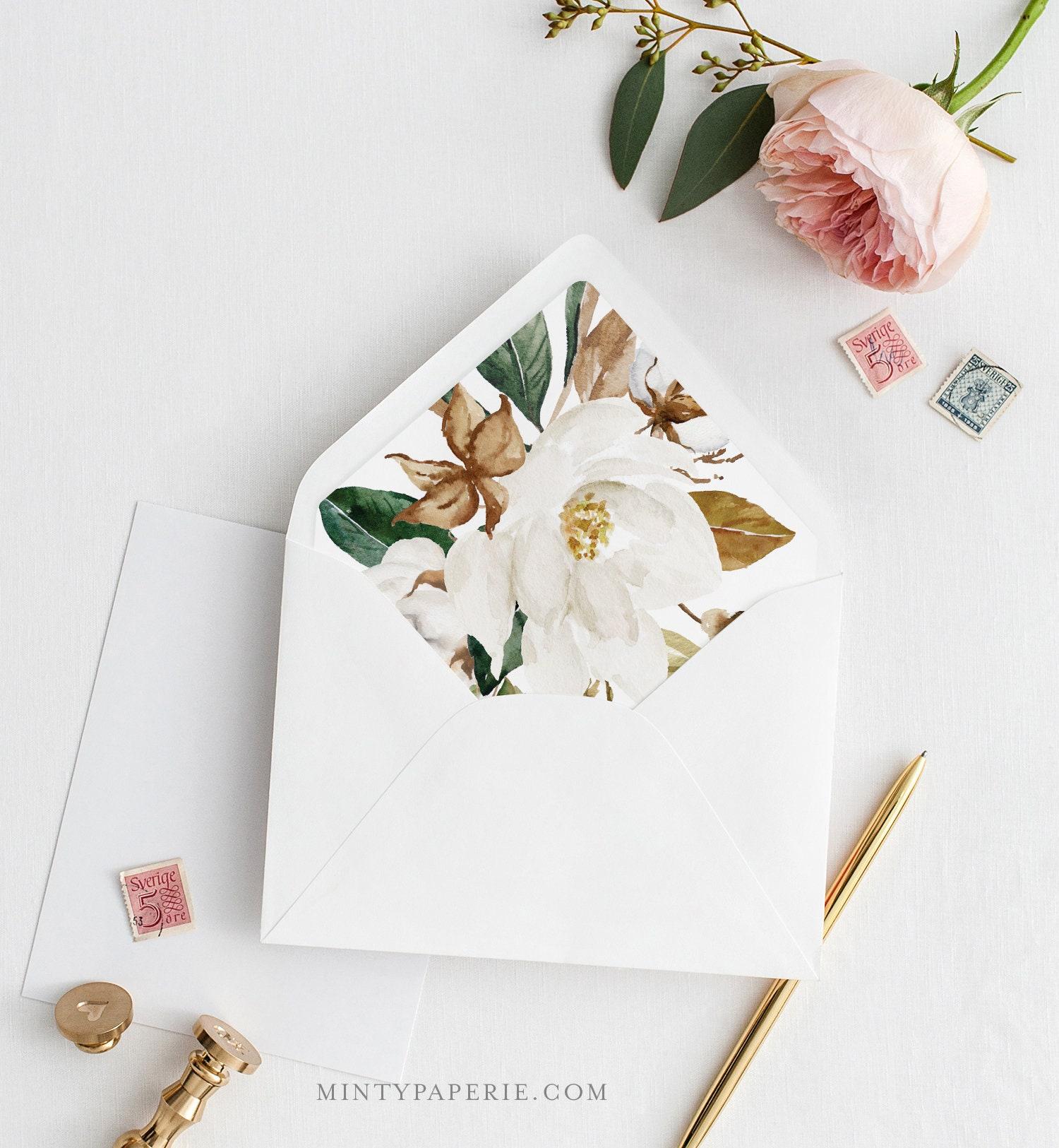 magnolia envelope liner template  southern cotton theme