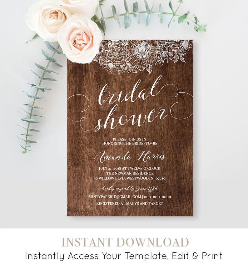 picture about Printable Bridal Shower Card identified as Bridal Shower Invitation Template, Printable Marriage Shower Card, Rustic Boho Bride, Immediate Obtain, Thoroughly Editable Template #025-119BS