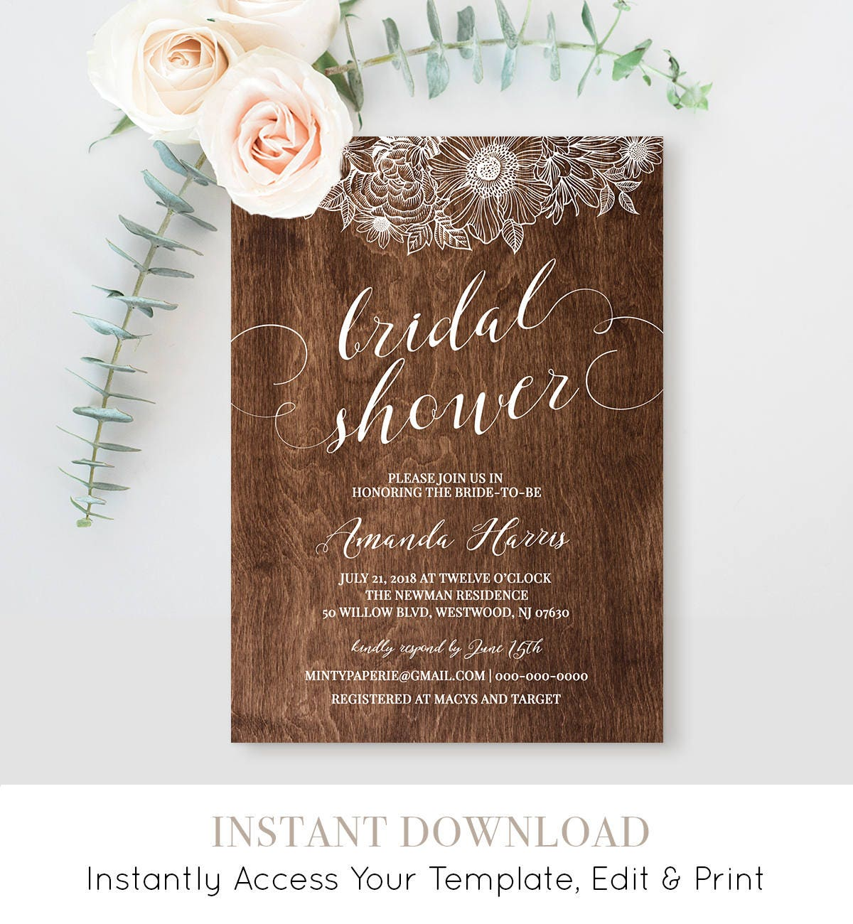 photo relating to Printable Bridal Shower Cards known as Bridal Shower Invitation Template, Printable Marriage ceremony Shower