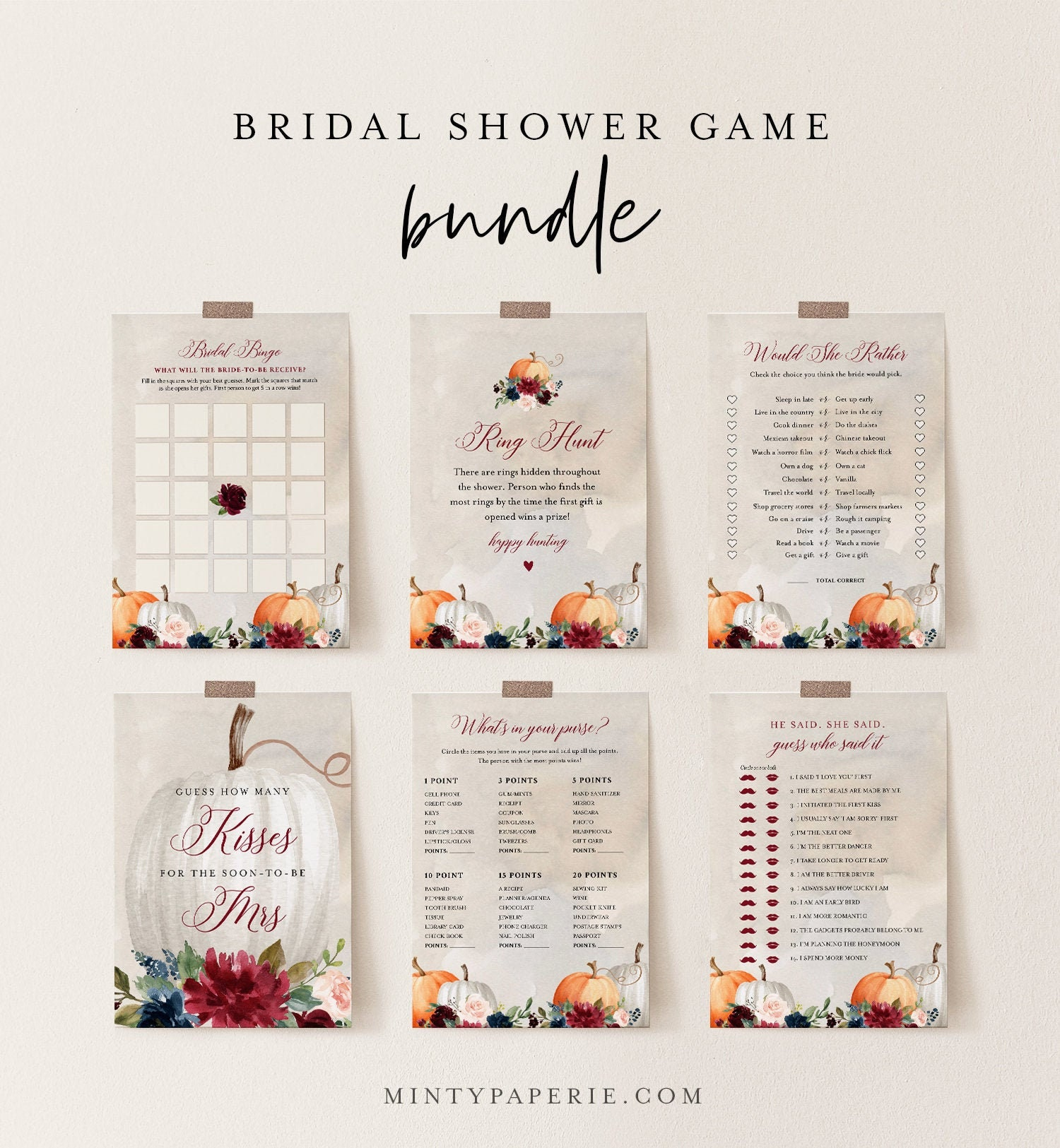 digital download electronic P1 template 12 Protea Bridal Shower Game Bundle Set editable instant download