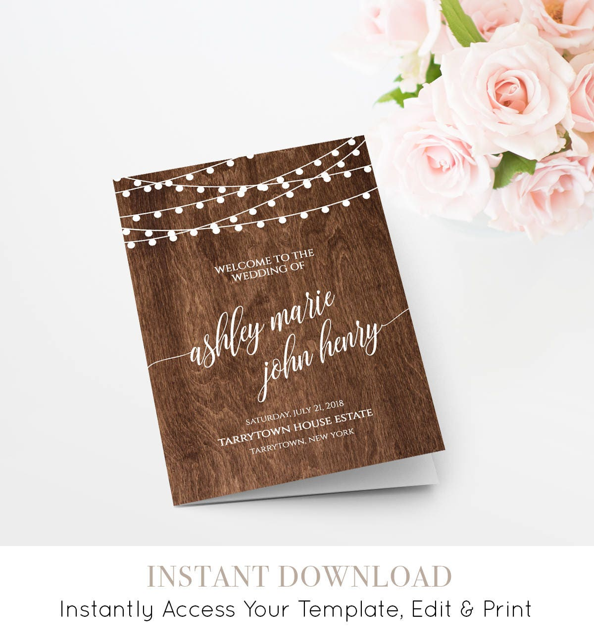 Wedding Program Printable, Rustic Wood String Lights, Ceremony, Order of  Service, Instant Download, 100% Editable Template, DIY #014-111WP