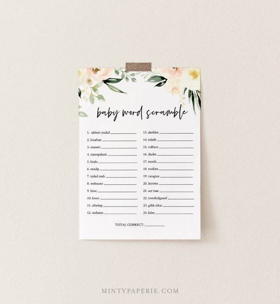Baby Word Scramble Game, Printable Baby Word Puzzle, DIY Boho Greenery Baby Shower Game, Editable Template, INSTANT DOWNLOAD #076-151BG
