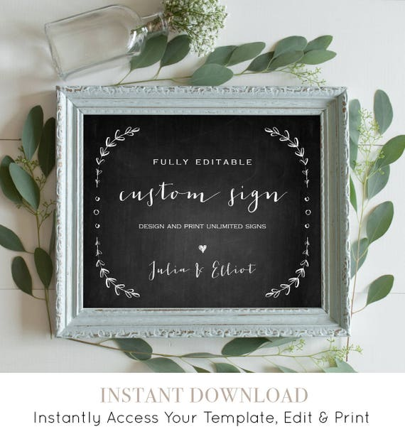 Chalkboard Wedding Sign Template, Fully Editable, Create Unlimited Custom Signs, Laurels, Instant Download, Printable 5x7 & 8x10 #031-104CS
