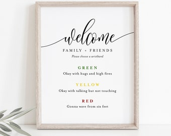 Color Coded Wristband Sign, Social Distance Welcome Sign, Covid Wedding, Editable Template, Instant Download, Templett, 8x10 #008-24S