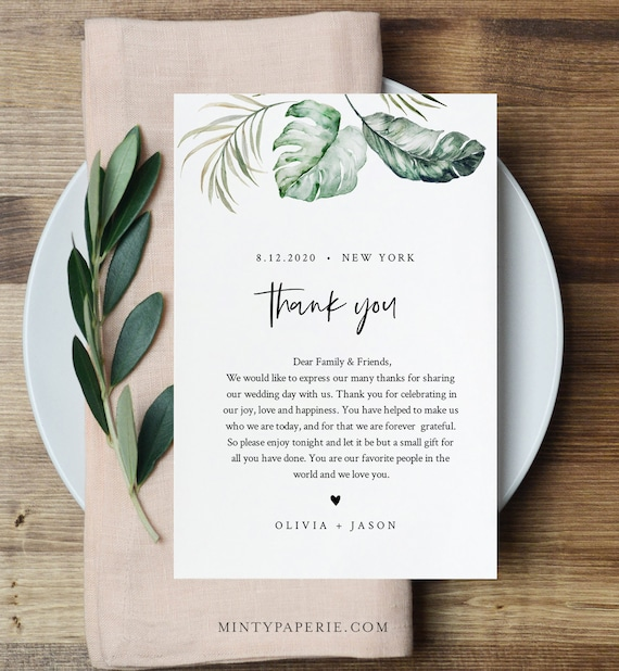 Tropical Wedding Thank You Letter, Napkin Note, In Lieu of Favors Card Template, Wedding Menu Thank You, INSTANT DOWNLOAD, 4x6 #087-126TYN