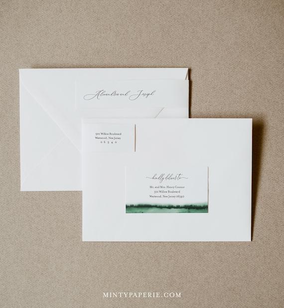 Address Label, Emerald Green Watercolor Wedding Envelope Sticker, Return Address Template, INSTANT DOWNLOAD, Editable, Templett #093C-106ENL