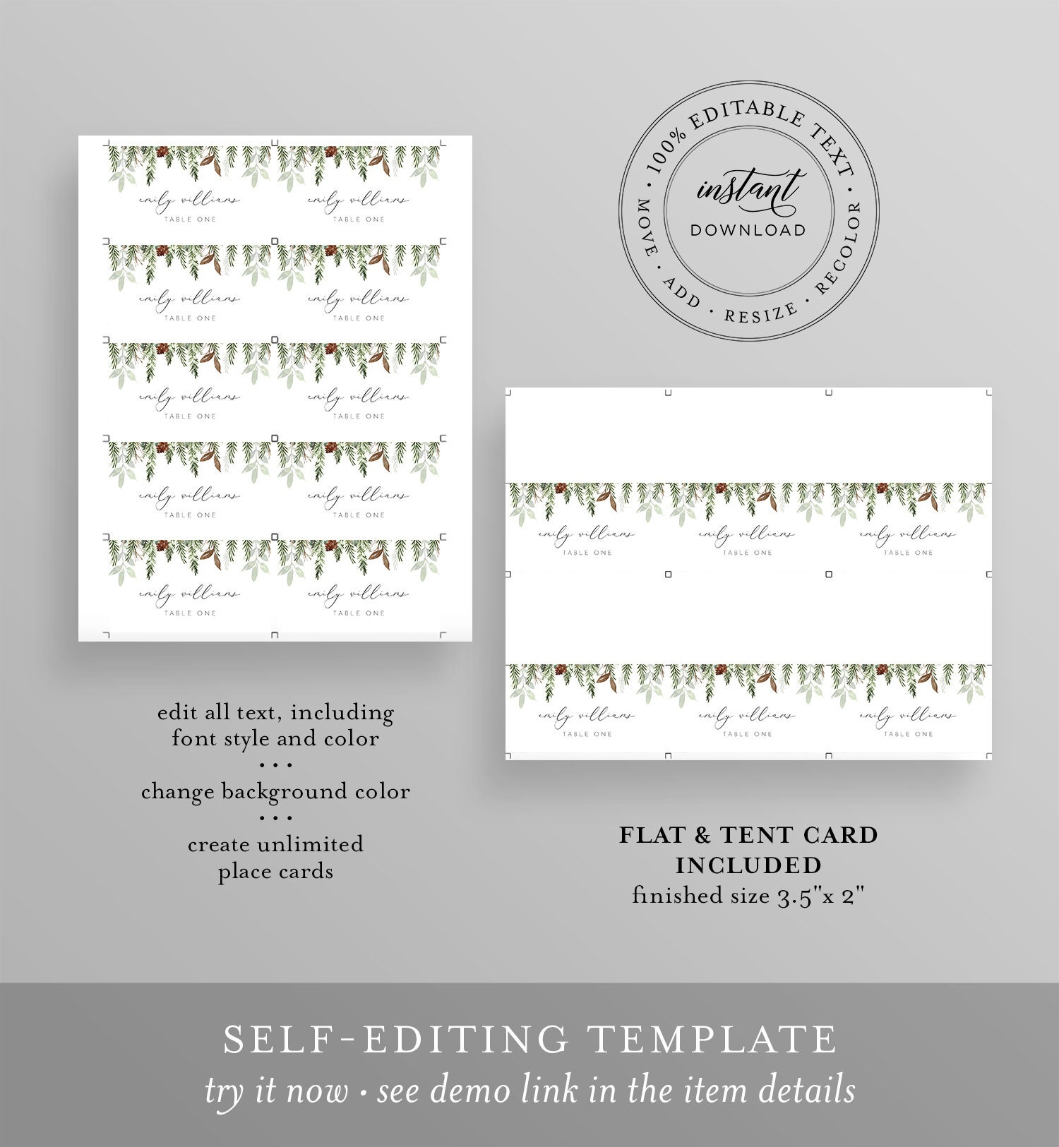Name Card 100/% Editable Text Pine Place Card Template Templett Printable Rustic Winter Wedding Escort Card INSTANT DOWNLOAD Evergreen