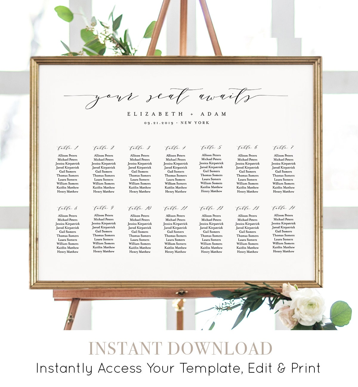 Seating Chart Template Printable Wedding Sign 100 Editable INSTANT DOWNLOAD Table Assignment Escort 18x24 24x36 037 220SC