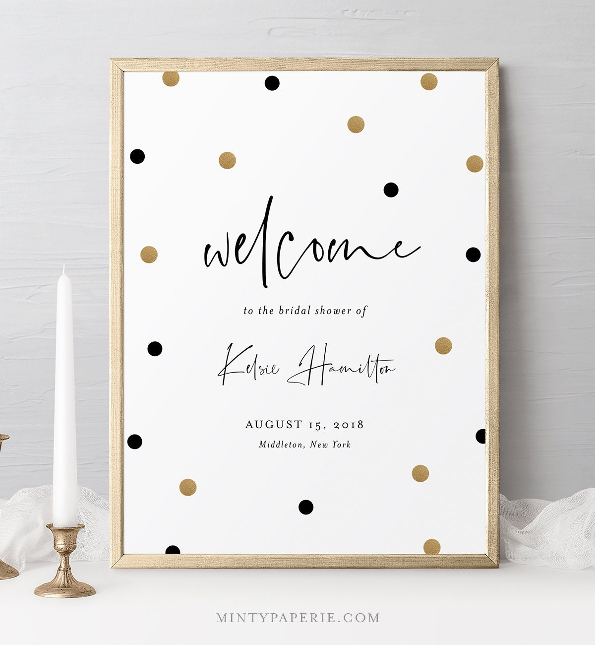 Bridal Shower Welcome Sign Template, Black and Gold Polka Dots ...