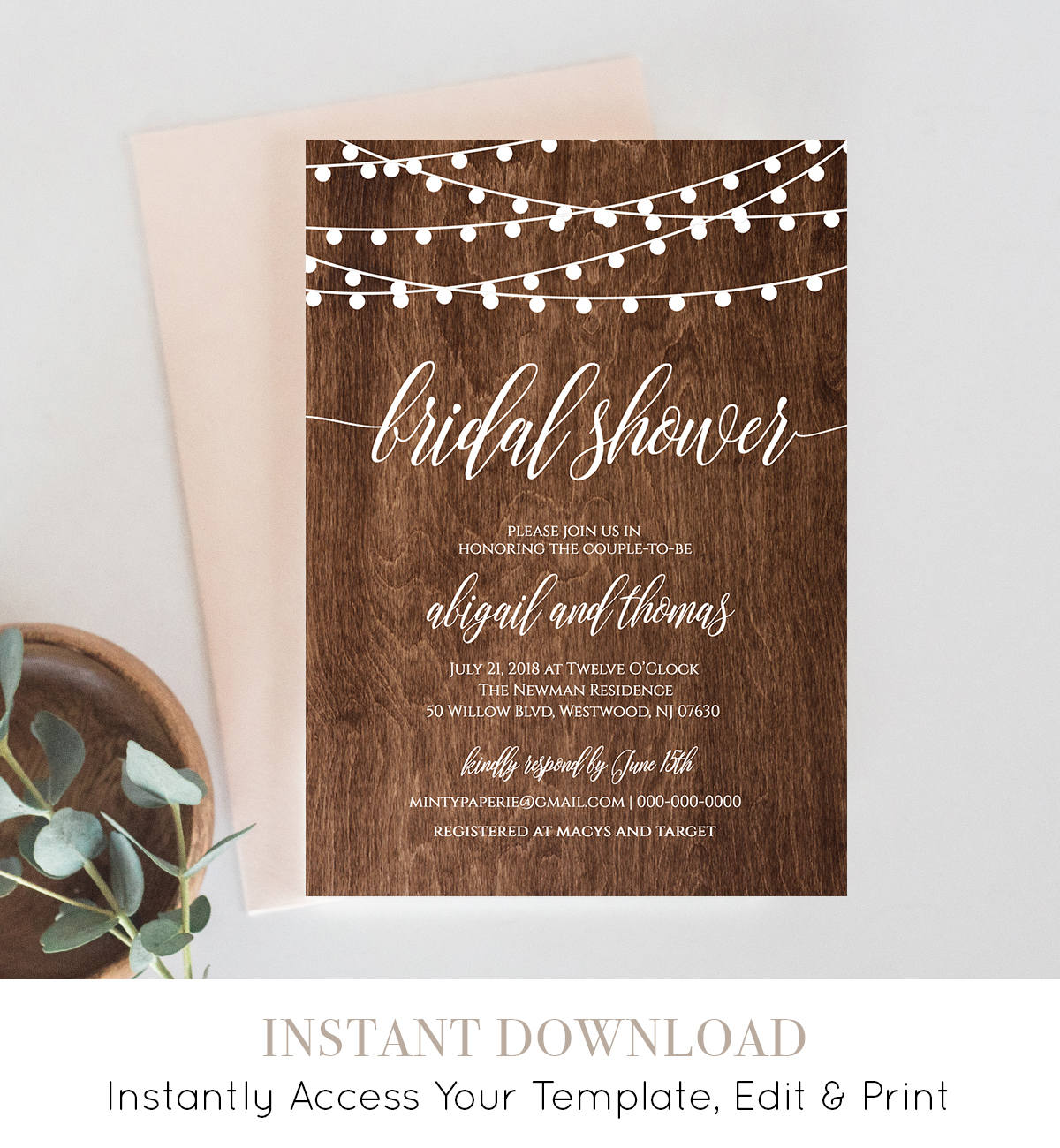 Bridal Shower Invitation Template, Printable Rustic Wedding Shower Invite,  String Lights, Fully Editable, DIY, Instant Download #014-126BS