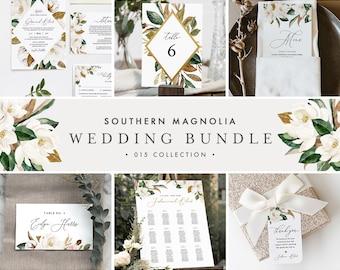 Magnolia Wedding Bundle, Large Wedding Essential Templates, 100% Editable Text, Southern Wedding, Instant Download, Templett #015-BUNDLE