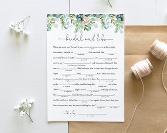 Mad Libs Bridal Shower Game Template, Printable Lush Garden Bridal Shower Funny Game, Editable Text, Instant Download, Templett #068A-288BG