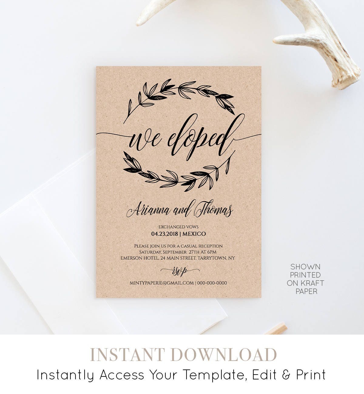 Elopement Announcement Template Wedding Elope Invitation Printable