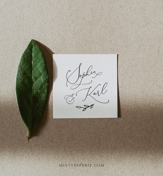 Favor Tag Template, Modern Calligraphy Wedding / Bridal Shower Thank You Tag or Label, 100% Editable, Circle or Square, Templett #092-103SF