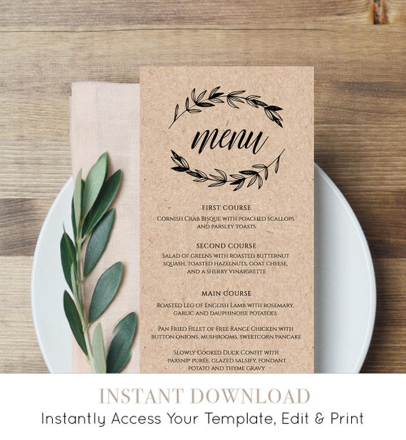 Rustic Wedding Menu Template, Printable Menu Card, Editable Template, Instant Download, DIY Wedding Reception Menu, Templett  #023-113WM