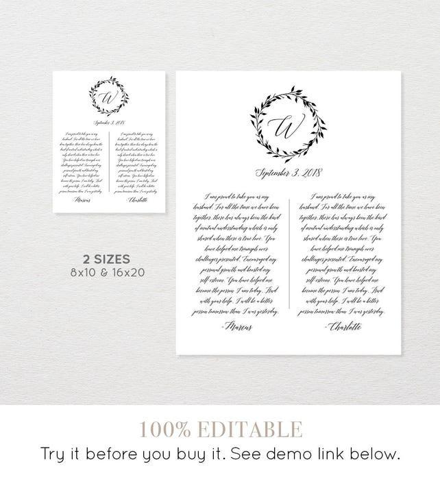 1st Year Anniversary Gift Paper Wedding Vow Keepsake Print 100 Editable Template Printable 8x10 16x20 034 109LS