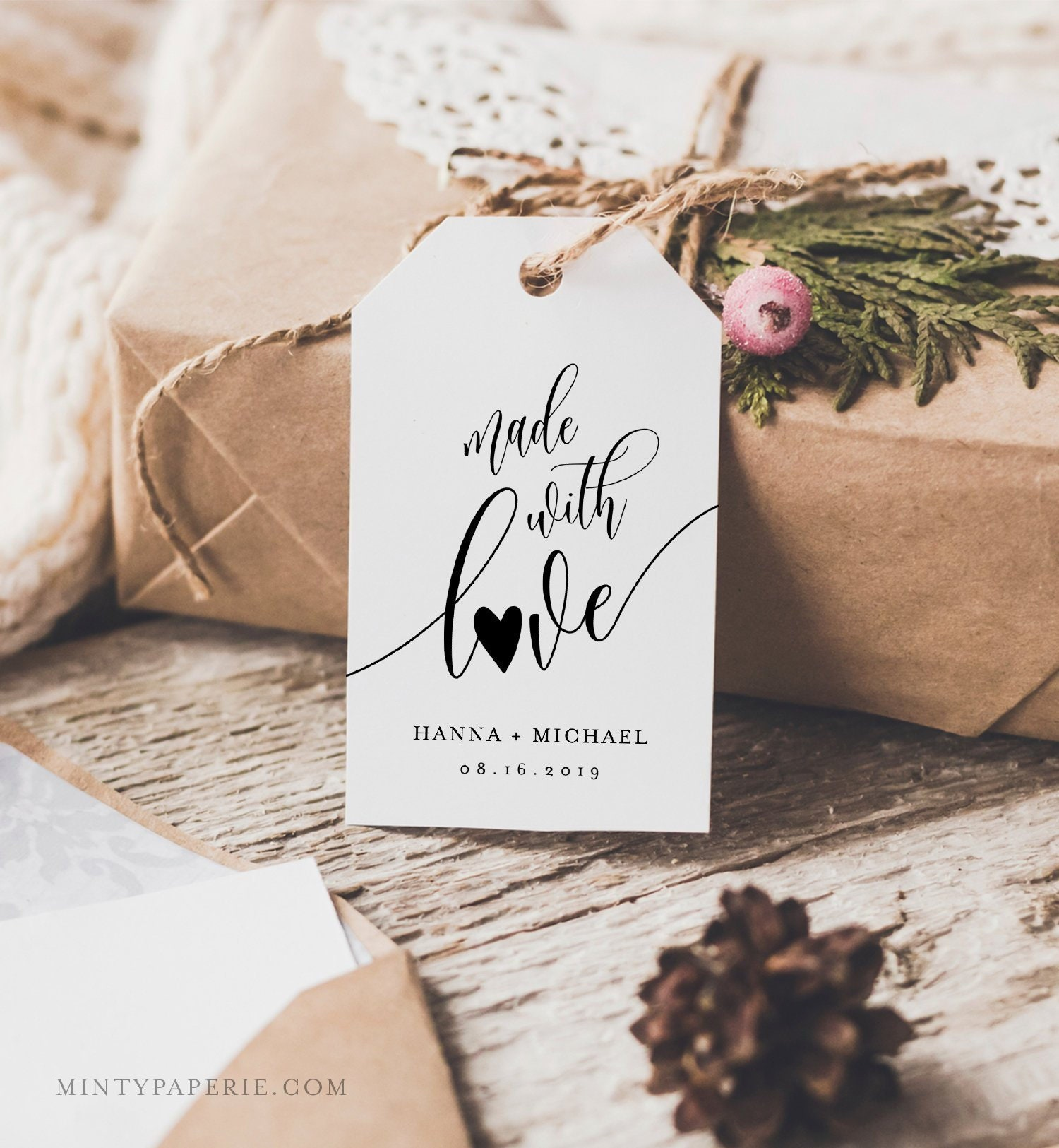 made with love favor tag rustic wedding tag bridal. Black Bedroom Furniture Sets. Home Design Ideas
