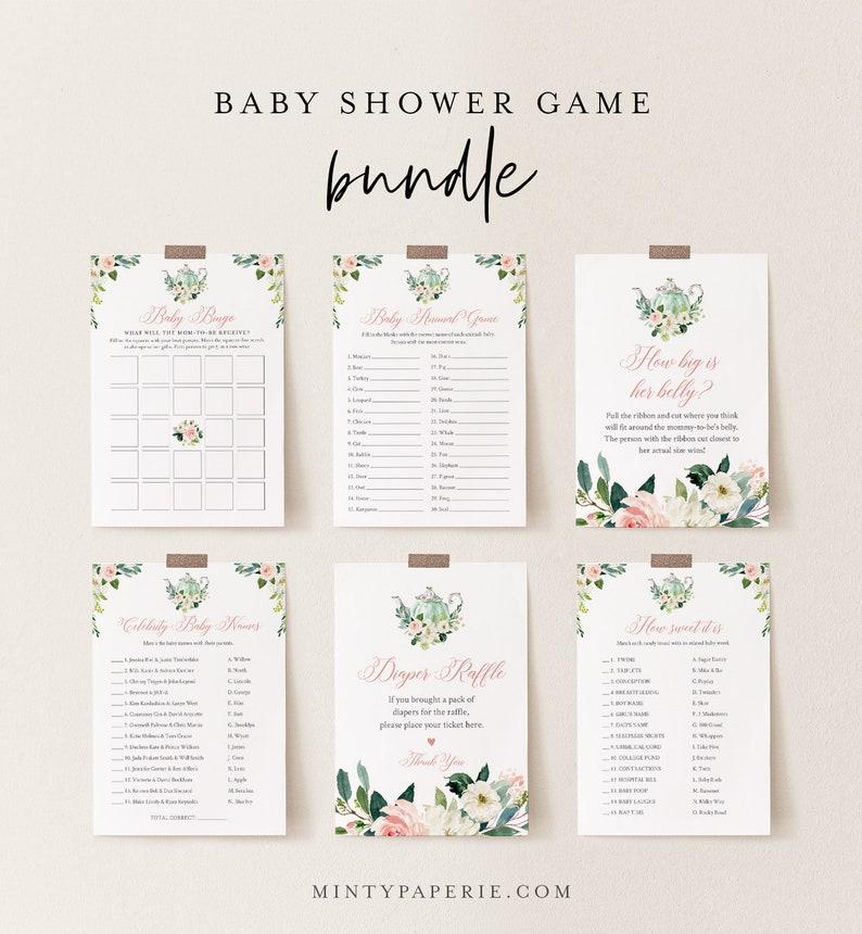 Baby Shower Game Bundle Tea Party Shower Editable Templates image 0
