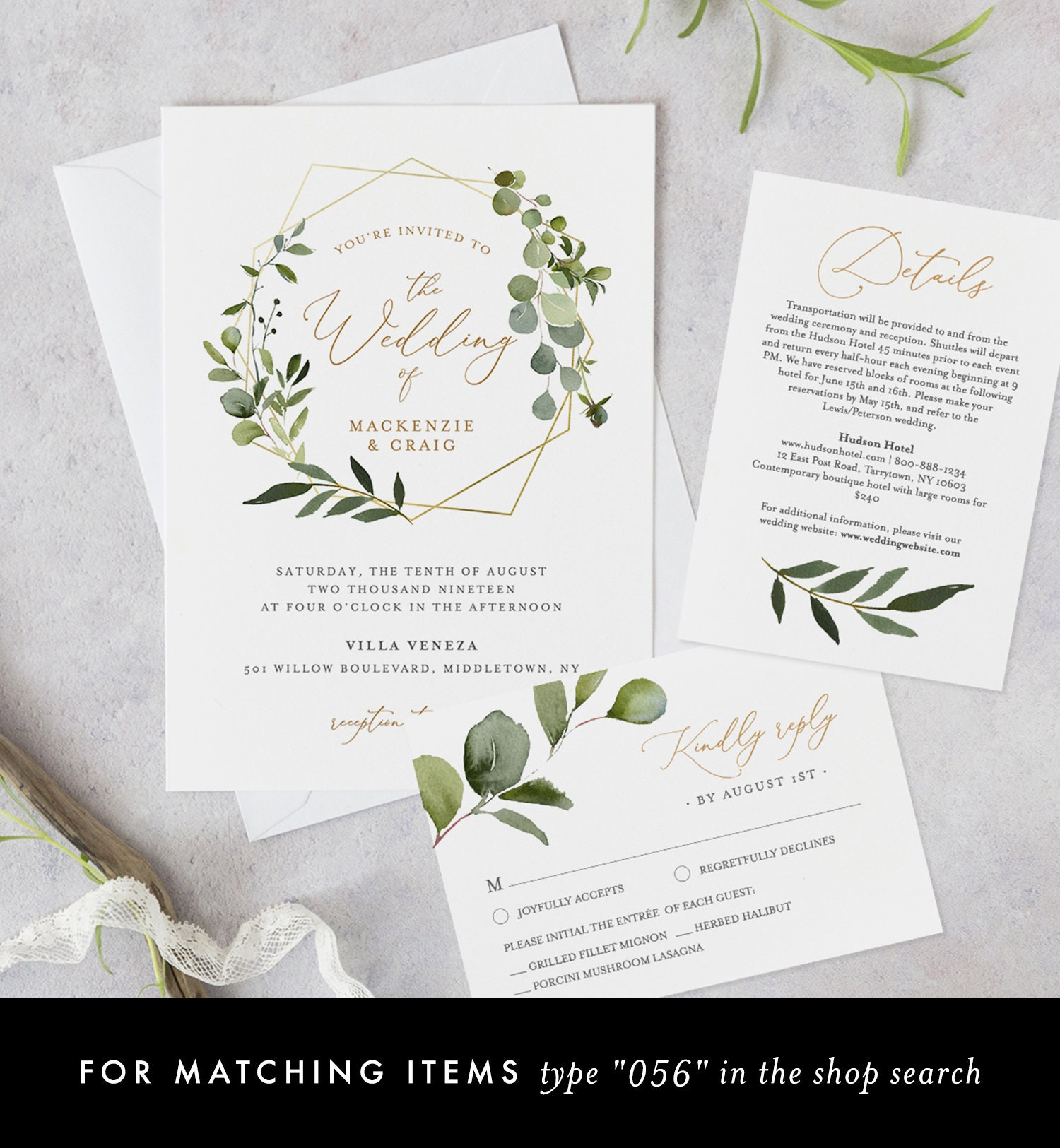 Printable Thank You Card INSTANT DOWNLOAD Wedding Favor Card Editable pdf Greenery Leaves Templett DIY Printable Decorations Enchant