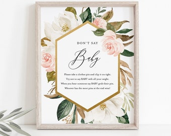 Don't Say Baby Clothespin Game, Magnolia Baby Shower Sign, 100% Editable Template, Printable, Instant Download, Templett  #015-226BASG