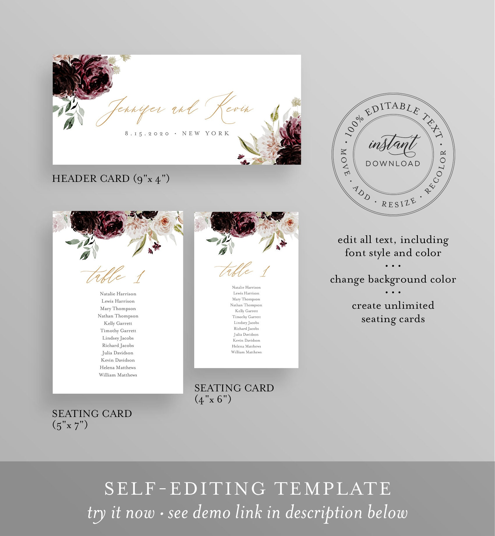 Moody Floral Seating Chart Printable, Table Seating Cards ...