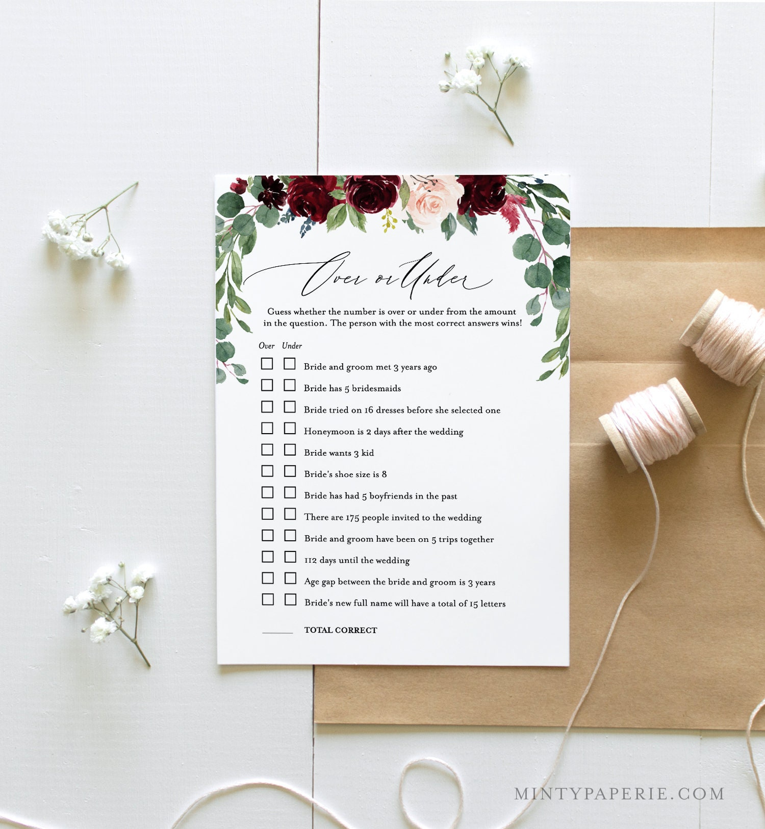 Over Or Under Bridal Shower Game, Editable Template