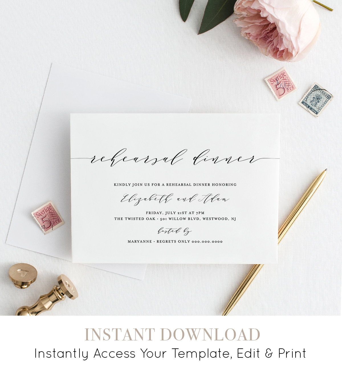Rehearsal Dinner Invitation Simple Modern INSTANT DOWNLOAD