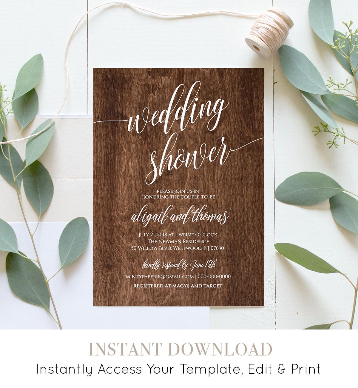 Wedding Shower Template Couples Shower Invitation Instant Download