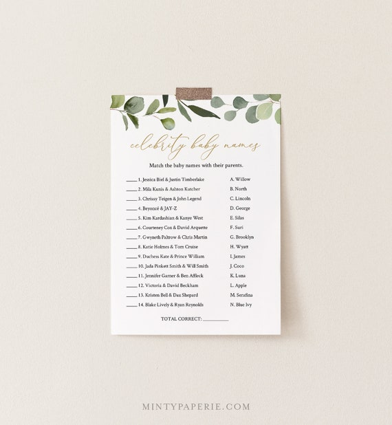 Celebrity Baby Name Game, Printable Baby Shower Game, Greenery and Gold, Editable Template, Instant Download Templett #056-118BASG