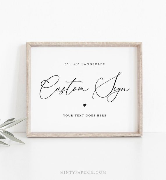 Wedding Sign Template, Create Any Sign, INSTANT DOWNLOAD, 100% Editable, Printable Custom Sign, Bridal Shower Sign, 8x10 Landscape  #CHM-05