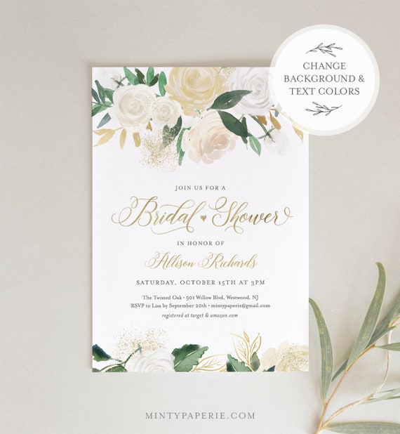 Bridal Shower Invitation Template, Cream and Gold Watercolor Florals, Couples Shower Invite, INSTANT DOWNLOAD, 100% Editable Text #064-174BS