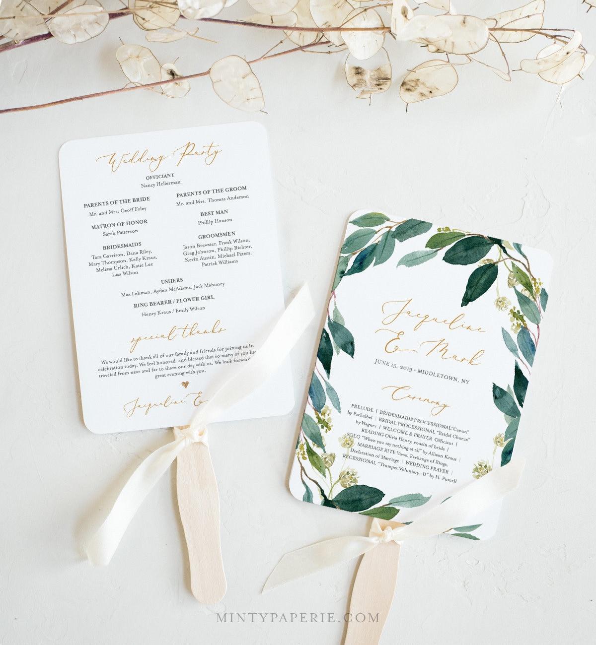 fan or flat wedding program template instant download printable
