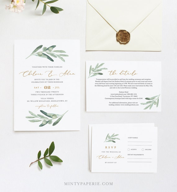 Olive Wedding Invitation Suite, Delicate Greenery Wedding Invite, RSVP and Details, Editable Text, INSTANT DOWNLOAD, Templett, DiY #081A