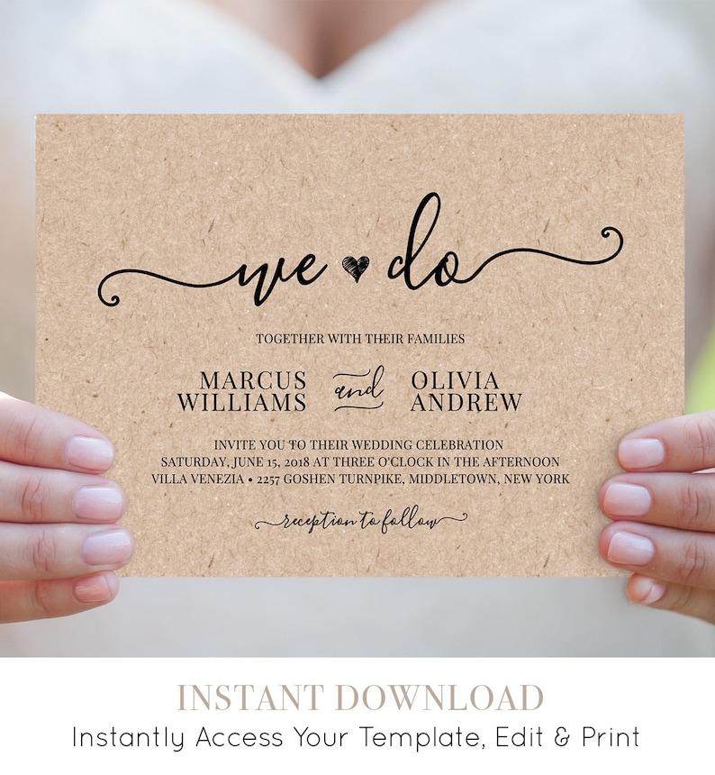 We Do Wedding Invitation Template Printable Heart Wedding image 1