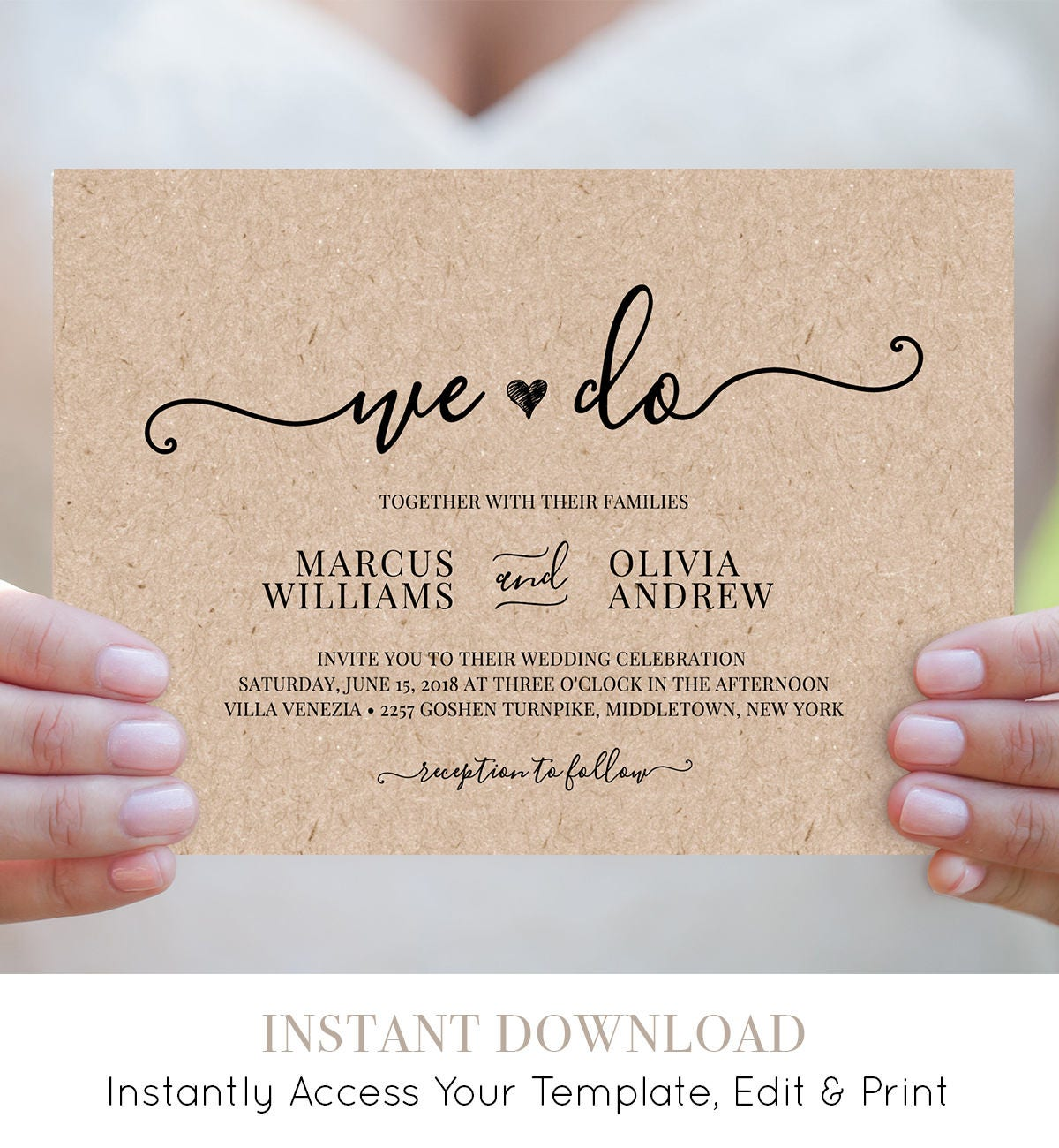 We Do Wedding Invitation Template Printable Heart Wedding Invite