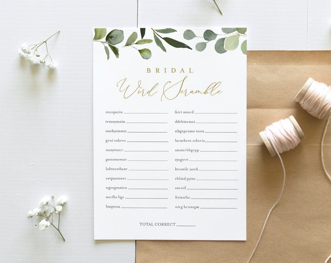 Word Scramble Bridal Shower Game Template, Greenery & Gold Bridal Shower Puzzle Printable, Instant Download, Templett #056-220BG