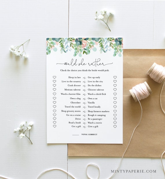 Would She Rather Bridal Shower Game Template, Lush Garden Bridal Shower Printable, Editable Template, Instant Download, Templett #068A-291BG