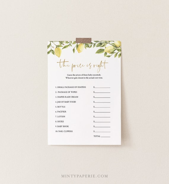 The Price Is Right Baby Shower Game Template, Citrus Lemon & Greenery Printable, 100% Editable Text, Instant Download, Templett #089-109BASG