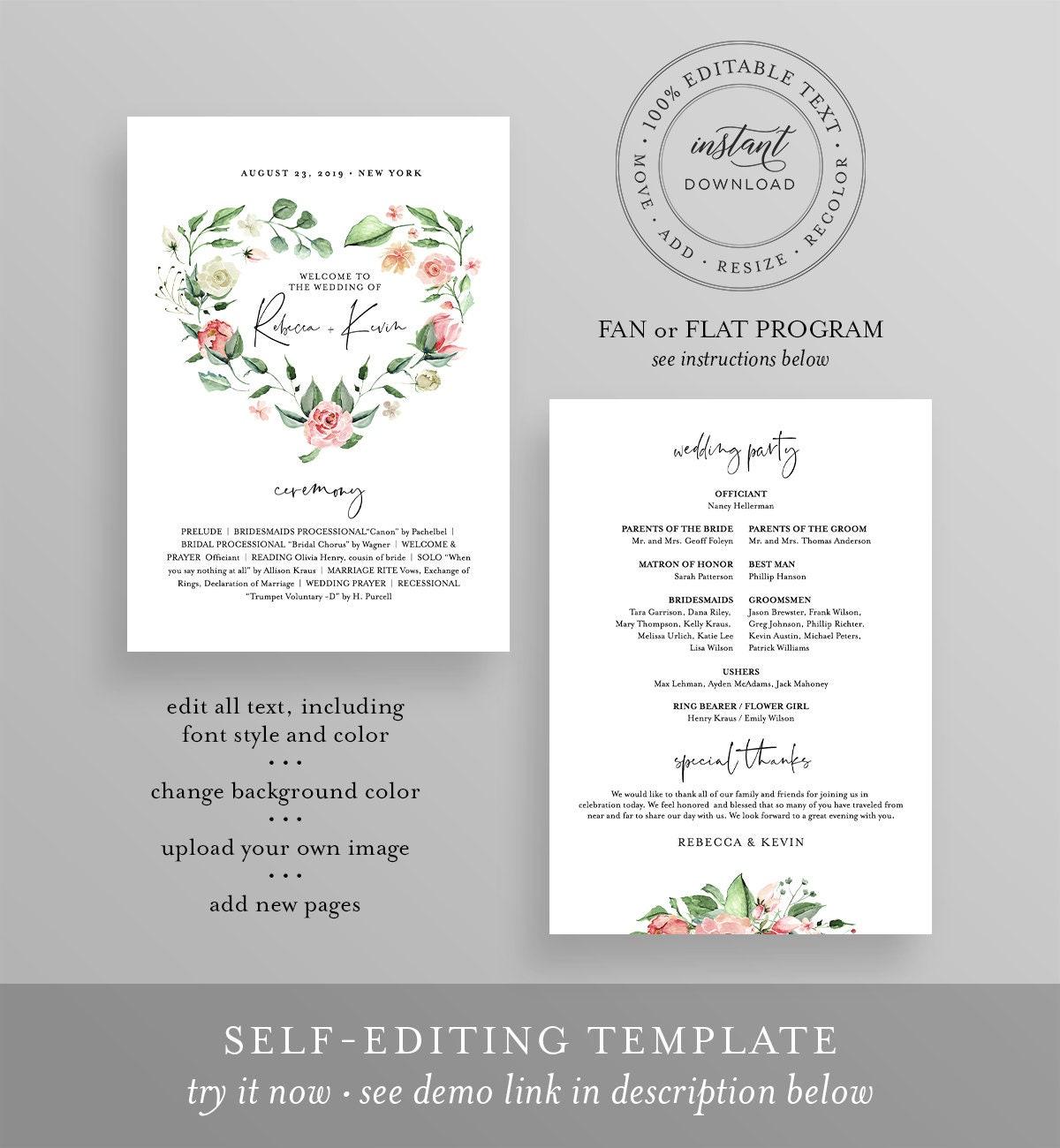 Wedding Program Fan Template RC0006 Watercolor Ceremony Program Printable Templett Order of Ceremony Template