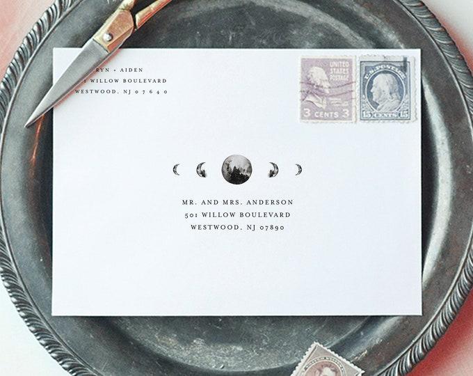 Celestial Address Template, Wedding Envelope Printable, Moon Envelope, Instant Download, 100% Editable Text, Digital, A7 & A1 #0003-150EN