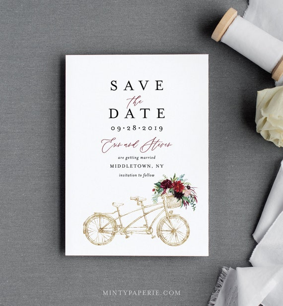 Bicycle Save the Date Template, Printable Boho Tandem Bike Wedding Date Card, Instant Download, 100% Editable Text, Templett, DIY #145SD