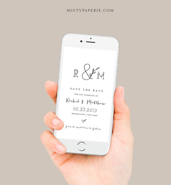 Rustic Save the Date, Minimalist Wedding Electronic Invitation, Evite, Digital, Text Invite, Editable, Templett, Instant Download 042-108SDD