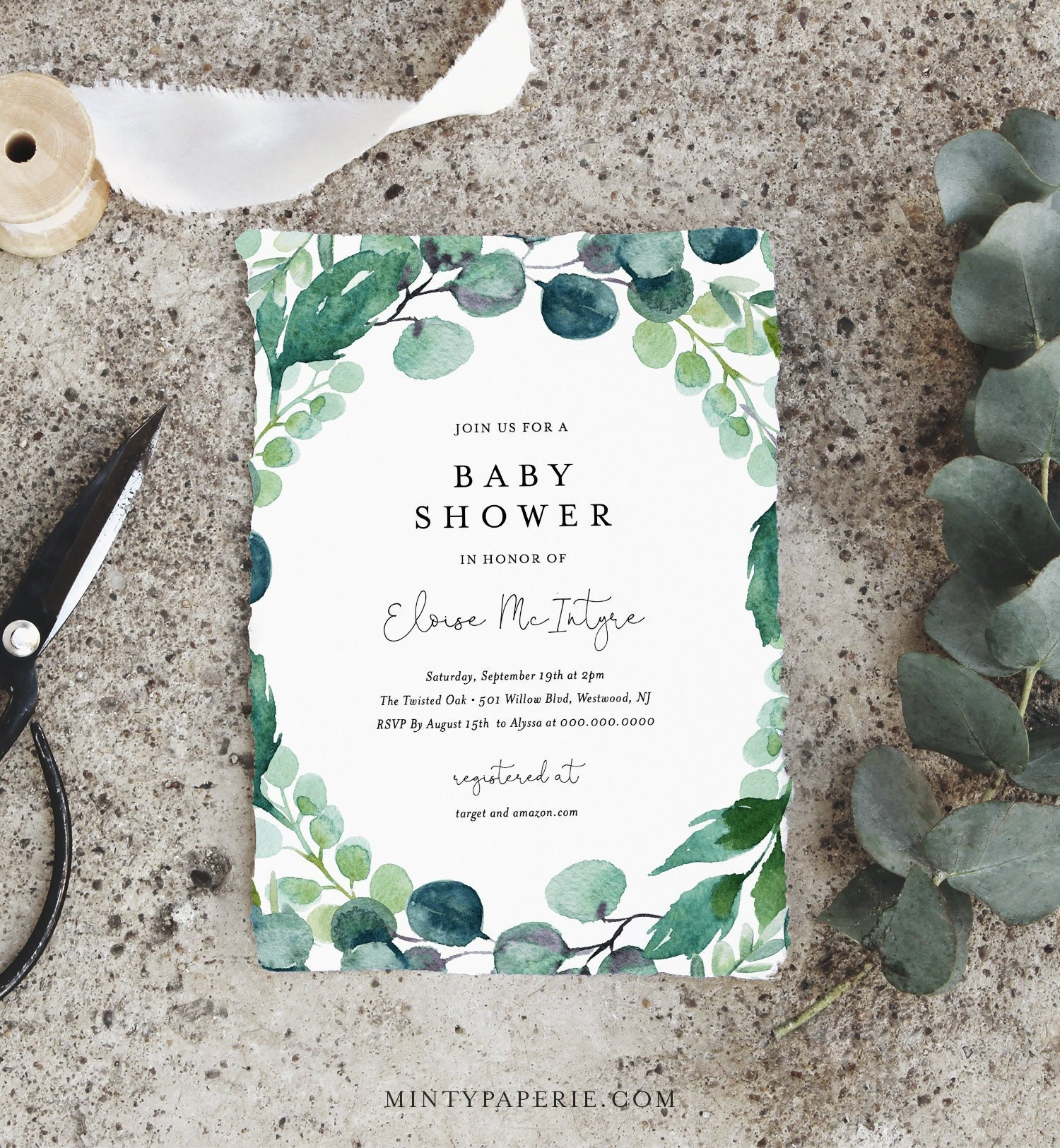 picture about Printable Baby Shower Invitation Templates named Greenery Kid Shower Invitation Template, Printable Kid