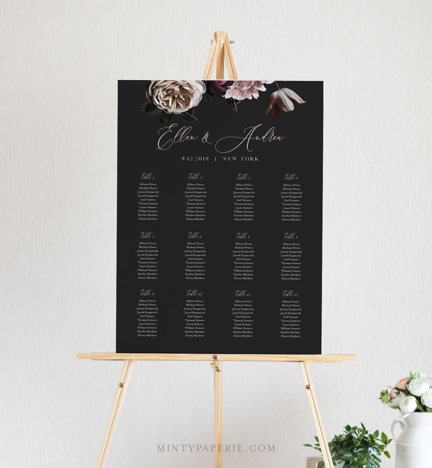 bridal shower seating chart template - moody seating chart template printable vintage floral