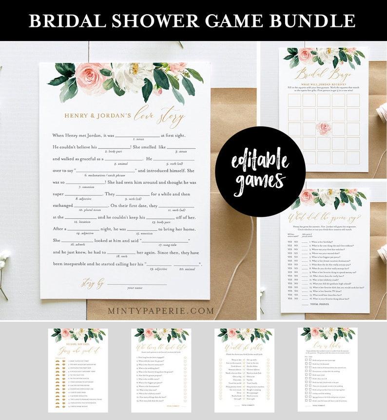 Bridal Shower Game Bundle Editable Games Instant Download image 0